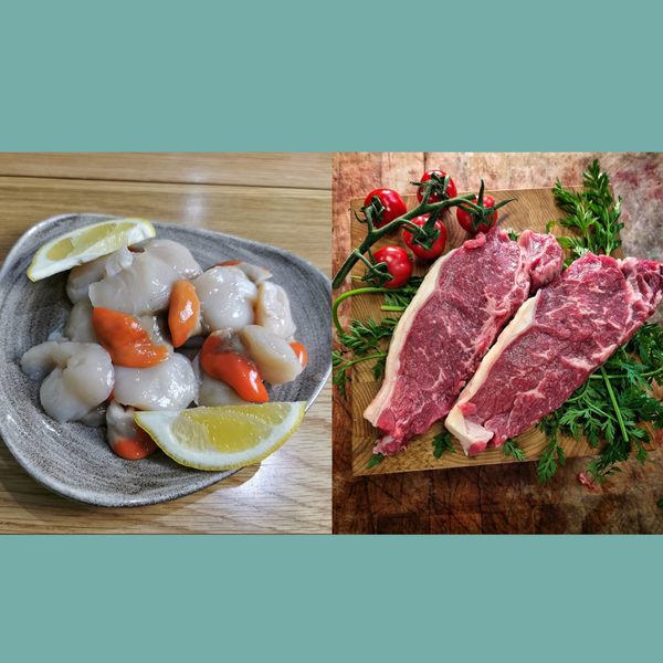 2x Grass Fed Somerset Sirloin Steaks, and 8 Cornish Scallops delivered to your door. We deliver to Bristol, Somerset, Bath, Weston Super Mare, Taunton, Newport, North Somerset, and Gloucestershire. Order your fish and meat with us today, order online or by phone.