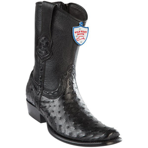 Wild-West-Boots-Mens-Ostrich-Dubai-Toe-Short-Boots-Color-Black