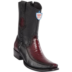 Wild-West-Boots-Mens-Genuine-Leather-Ostrich-Leg-and-Deer-Dubai-Toe-Short-Boots-Color-Faded-Burgundy