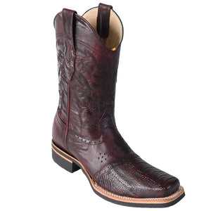 Los Altos Men's Ostrich Leg Saddle Vamp Square Toe Boots