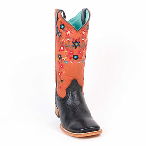 Quincy-Boots-Womens-Floater-Leather-Floral-Black/Red-Ranch-Toe-Western-Boot