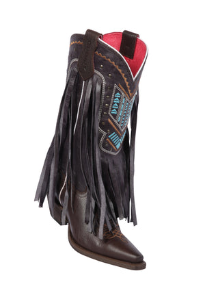 Quincy-Boots-Womens-Grasso-and-Crazy-Strings-Chocolate-Snip-Toe-Western-Boot