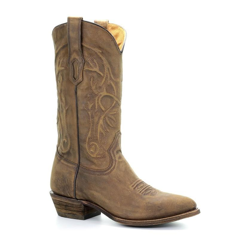 Men's Corral Vintage Golden Embroidery Round Toe - Comfort System Western Boots Roderick