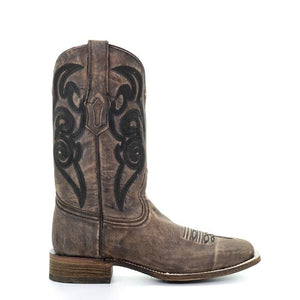 Men's Corral Brown Embroidery Sq. Toe - Comfort System Western Boots Travis
