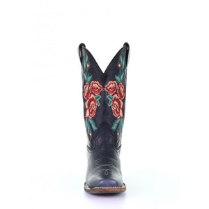 Women's Corral Black/Turquoise Floral Embroidery Sq. Toe Rodeo Collection Western Boots A3807