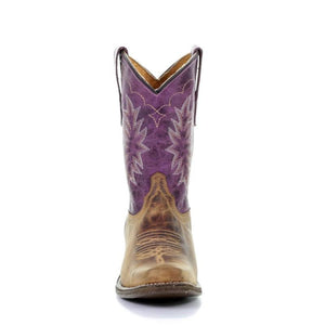 Kids Corral Brown/Purple Embroidery Sq. Toe - Tyson Selection Western Boots E1478