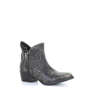Women's Corral Black - Grey Cutout Shortie Western Boots