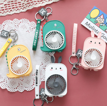 Load image into Gallery viewer, Cute USB Mini Portable Pocket Fans Keychain