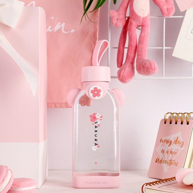 Glass Cherry Blossom Sakura Water Bottle