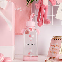 Load image into Gallery viewer, Glass Cherry Blossom Sakura Water Bottle