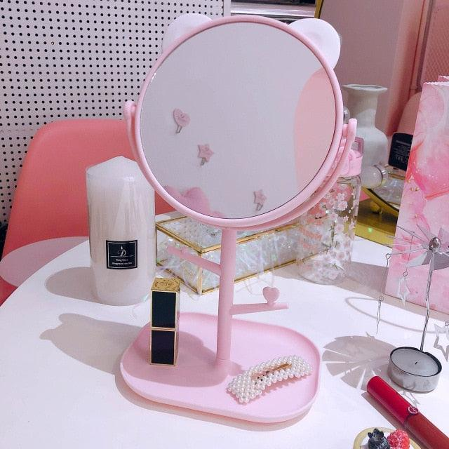 Cat Ears Makeup Mirror with Accessories Organizer