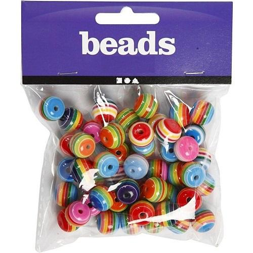 Beads For Fun - Runde multifarvede perler - Beads for fun