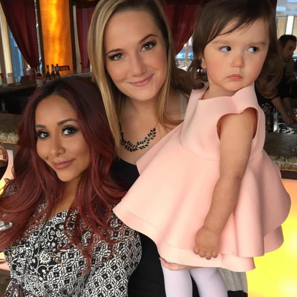 Celebrity Sighting ~ JWOWW's daughter wearing our Romey Dress. Picture with her best friend Snookie .
