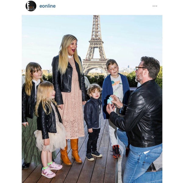 Tori Spelling's re-proposal captured by Eonline! Her girls Stella & Hattie wearing our dresses.