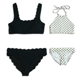 Dalia ~ Blk & Wht Heart Mommy Bathing Suit - TOP ONLY