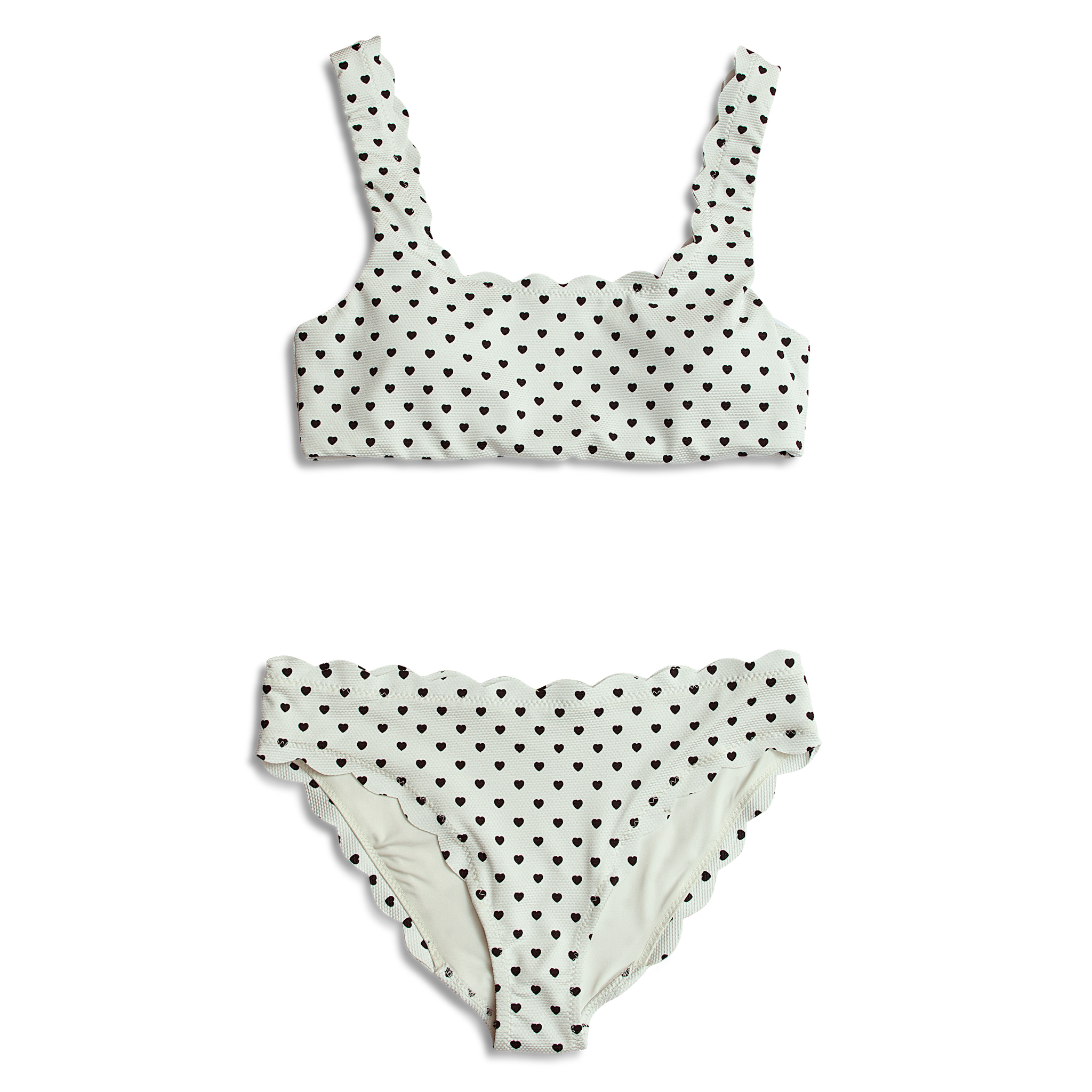 Dalia ~ Blk & Wht Heart Mommy Bathing Suit - BOTTOM ONLY