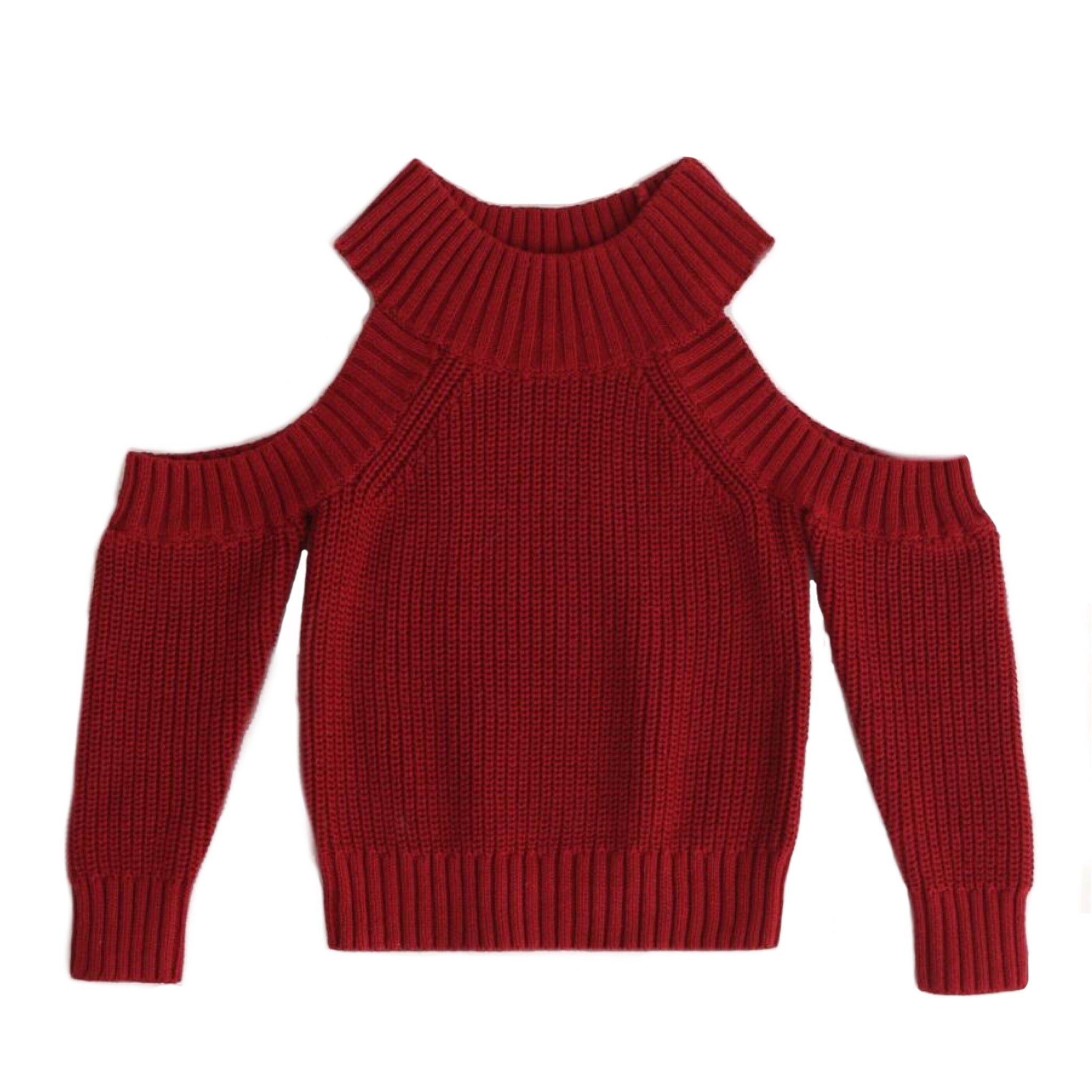 Faye - Open Shoulder Burgundy Sweater