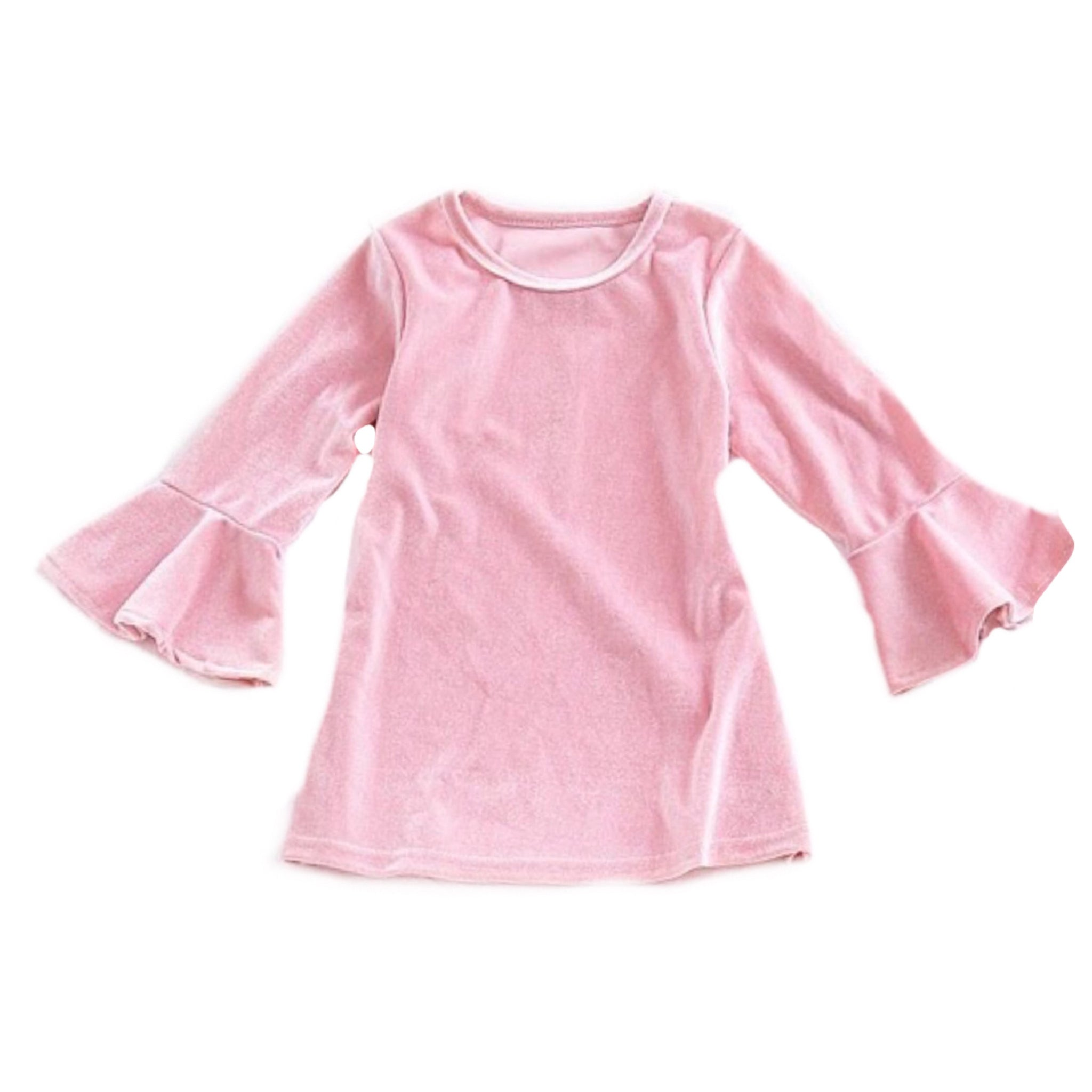 Noelle ~ Pink Soft Velveteen Dress