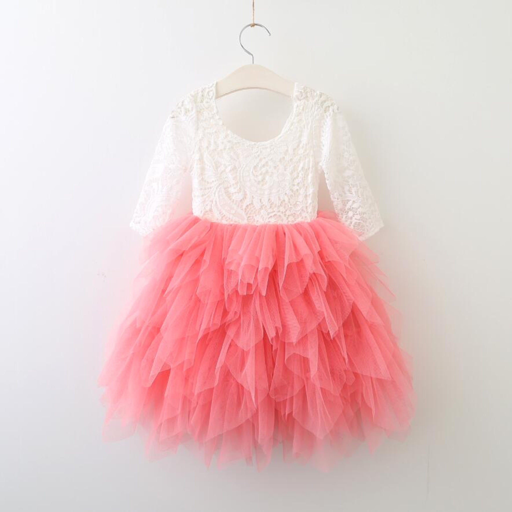 Olivia ~ V Lace Back Dress (Pink) *
