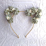 Floral Cat Ears Headband (Green)