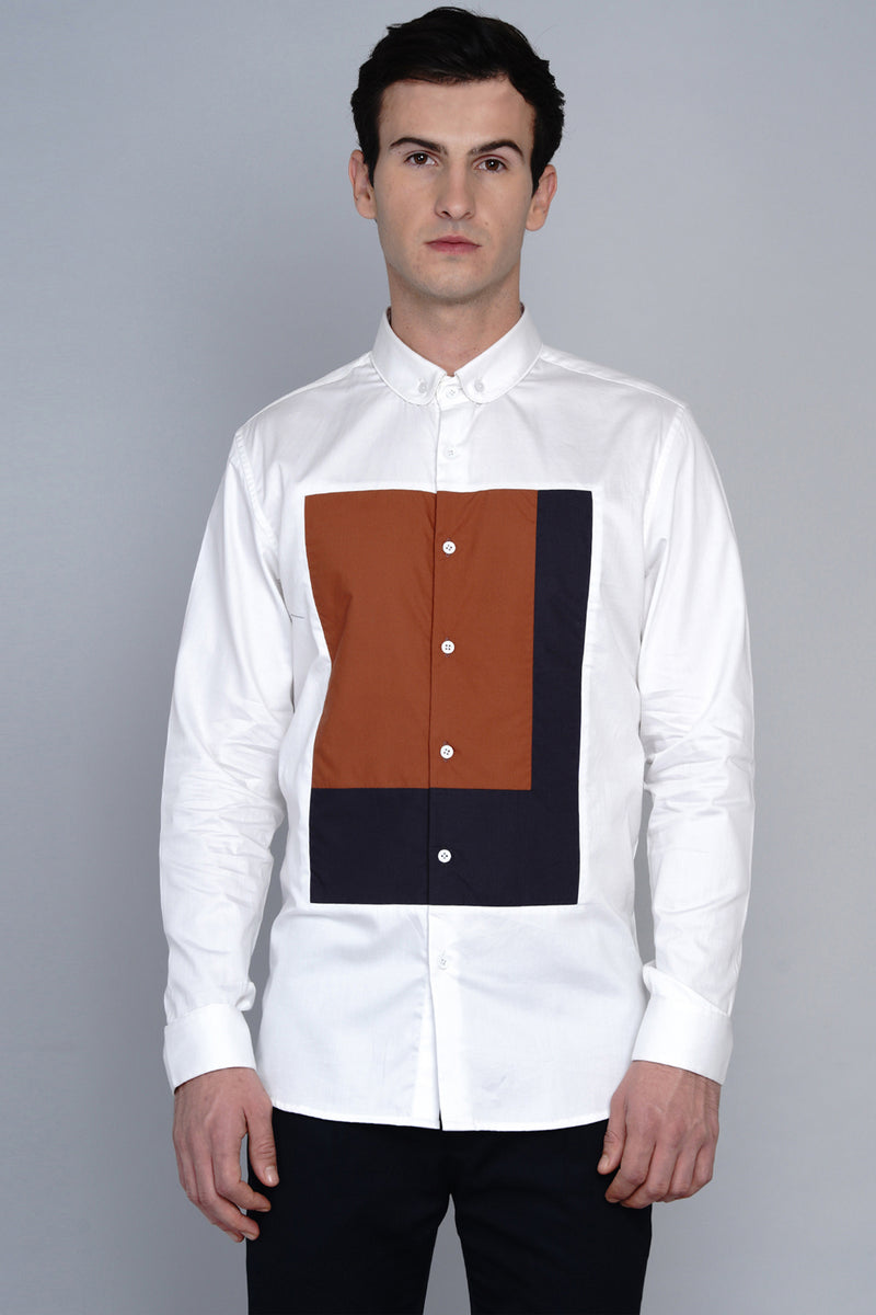 GAVLE- FRONT PANEL COLOUR BLOCKED SHIRT