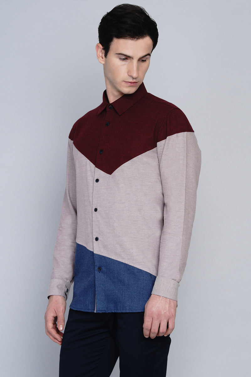 MALMO- ASYMMETRIC COLOUR BLOCKED SHIRT