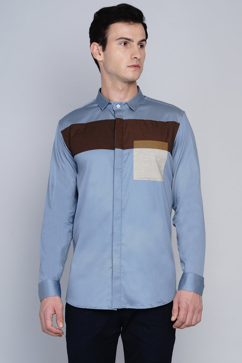 ANDOYA- FRONT PANEL COLOUR BLOCKED SHIRT
