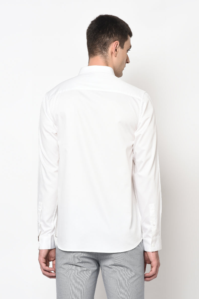 CORNELLA- WHITE SHIRT WITH MULTICOLOUR PIPING DETAIL