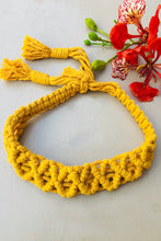 Load image into Gallery viewer, Make a statement with sustainable fashion accessory! This macrame headband is crafted intricately and will perfectly frame your beautiful face. It is adjustable and can be availed in an array of colors. Get yourself an assemblage of eco-friendly headbands.