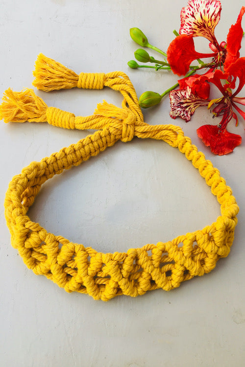 Make a statement with sustainable fashion accessory! This macrame headband is crafted intricately and will perfectly frame your beautiful face. It is adjustable and can be availed in an array of colors. Get yourself an assemblage of eco-friendly headbands.