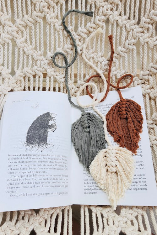Handcrafted macrame leaf feather bookmarks