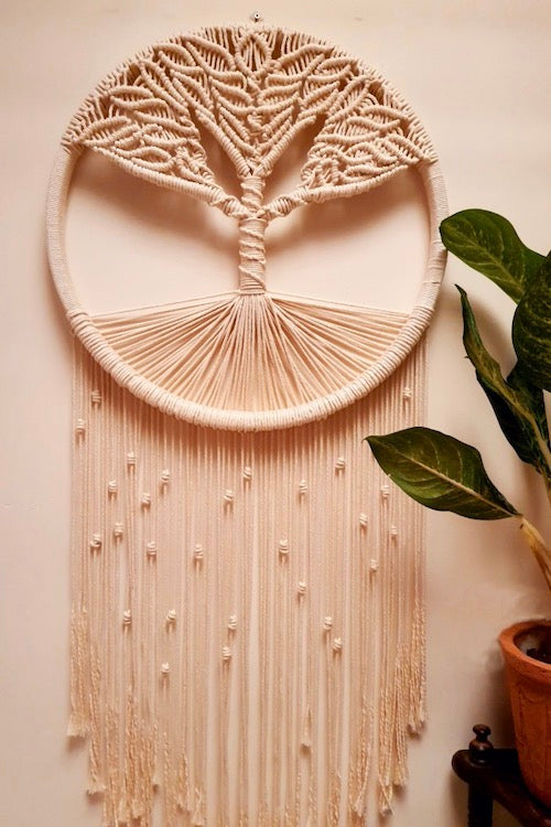 Handcrafted Macramé 'Vishal Tree of Life' Dreamcatcher Wallhanging