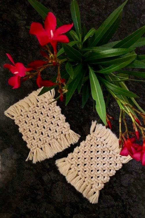 Handcrafted Macrame square coasters