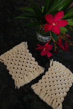 Load image into Gallery viewer, Handcrafted Macrame square coasters