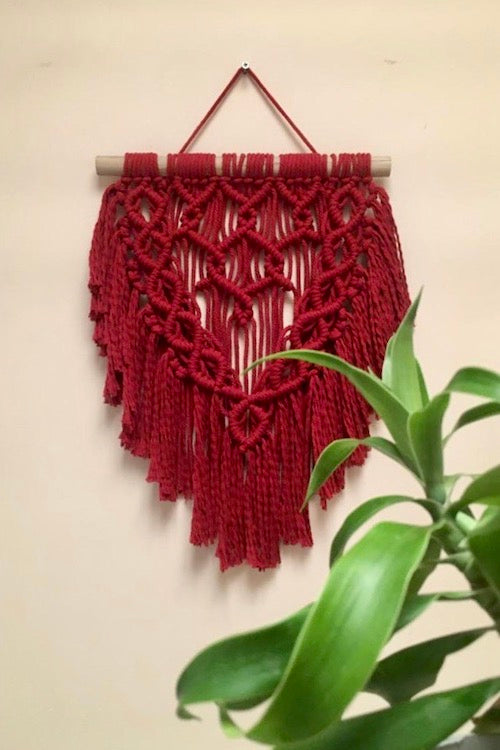 Handcrafted macrame red wine spring wall hanging for home decor