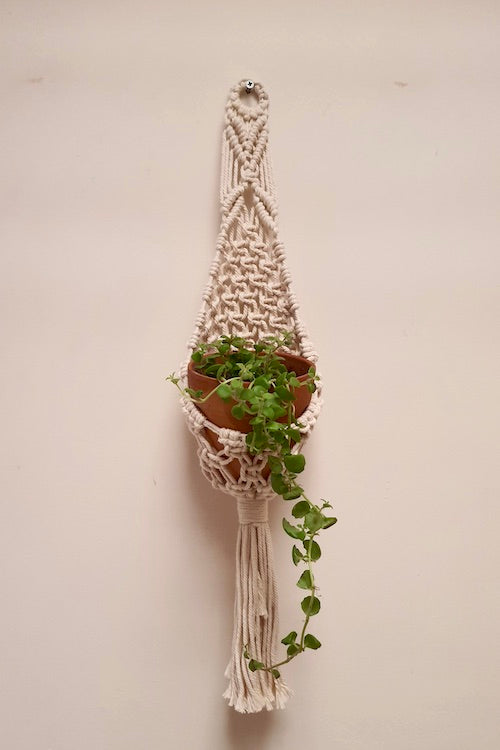 Handcrafted Macrame Mesh netted plant hanger or candle holder