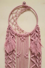 Load image into Gallery viewer, Handcrafted Macramé 'Moon' Dreamcatcher - Baby Pink