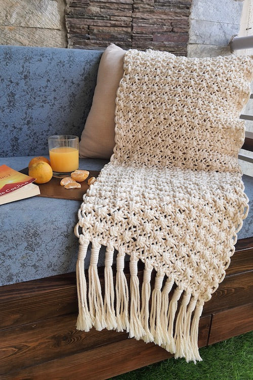 Handcrafted Macrame Throw for Sofa