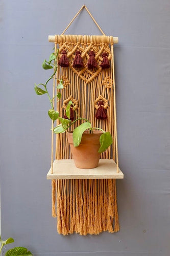 Handcrafted Macrame plant wall hanging shelf