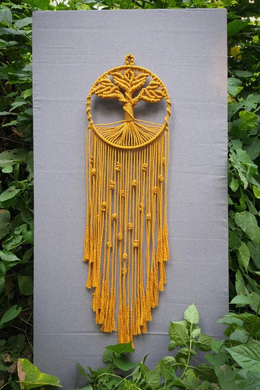 Handcrafted Macramé Colored 'Tree of Life' Dreamcatcher - Mustard