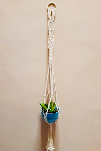 Handcrafted macrame knotted plant hanger