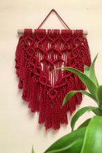 Load image into Gallery viewer, Handcrafted macrame red wine spring wall hanging for home decor