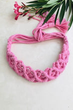 "Load image into Gallery viewer, Make a statement with sustainable fashion accessory! This macrame headband is crafted intricately and will perfectly frame your beautiful face. It is adjustable and can be availed in an array of colors. Get yourself an assemblage of eco-friendly headbands.  Material : 100% Organic Cotton Thread  Craft : Macramé Colour : Pink  Measurements : Width - 1.5"" Length - Adjustable  Product weight : 100 grams  Special Attention : Handcrafted, Please Allow For Minor Crafting Variation.  Shipping Info : Dispatched in"