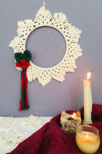 Load image into Gallery viewer, Handcrafted macrame Christmas wreath Wallhanging
