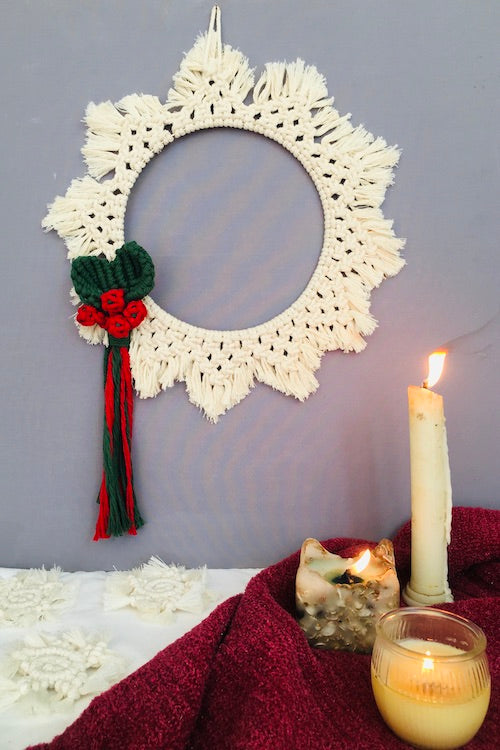 Handcrafted macrame Christmas wreath Wallhanging