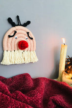Load image into Gallery viewer, Handcrafted macrame reindeer wallhanging