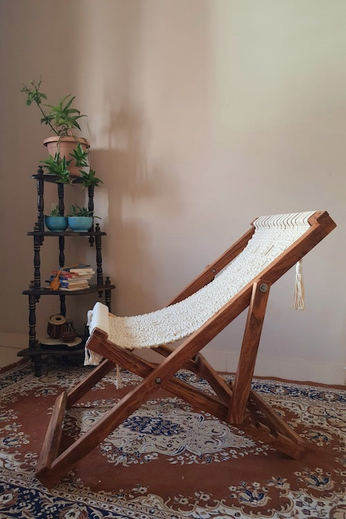 Handcrafted Macrame foldable portable lounge chair