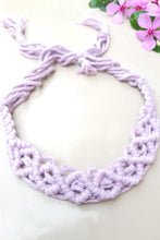 "Load image into Gallery viewer, Make a statement with sustainable fashion accessory! This macrame headband is crafted intricately and will perfectly frame your beautiful face. It is adjustable and can be availed in an array of colors. Get yourself an assemblage of eco-friendly headbands.  Material : 100% Organic Cotton Thread  Craft : Macramé  Colour : Lavender  Measurements : Width - 1"" Length - Adjustable  Product weight : 100 grams  Special Attention : Handcrafted, Please Allow For Minor Crafting Variation.  Shipping Info : Dispatched"