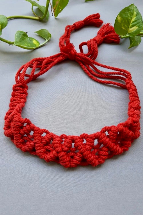 Handcrafted Macramé Hairband - Red