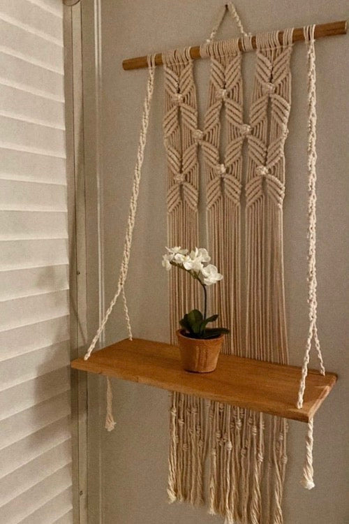 Handcrafted Macramé 'Blooming Flower' Wallhanging Shelf